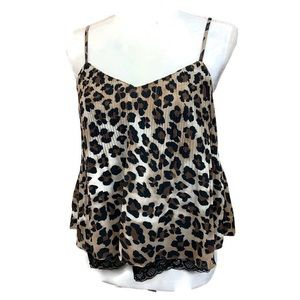 Lush leopard print pleated lace trim top